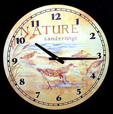 "Sea Life~Tropical Nautical Weathered Style Wood 15"" Wall Clock~Shells,Coral,Fish"