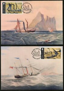 GIBRALTAR (2020) EUROPA Ancient Postal Routes, steam packet ships Maximum cards