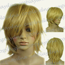 "16 "" Hi_Temp Beige Blonde Hand Spikeable Shaggy Cut Short Cosplay DNA Wigs 64086"