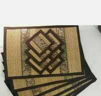 BRAND NEW! 12pc - 6 Place Mats 6 Coasters Thai Thailand Elephant Brown Gold