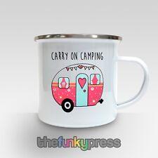 Carry On Camping Enamel Mug Tea Coffee Cup Slogan Caravan Gift Birthday