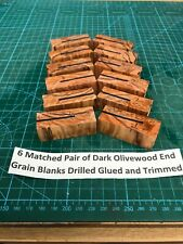 6 Pair of Dark Olivewood End Grain Blanks Drilled 7mm Glued and Trimmed