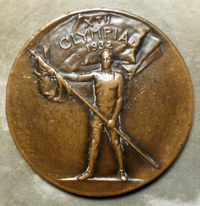 1932 Olympic Games Los Angeles Participation Medal. Bronze, 70mm, J. Kilenyi f.