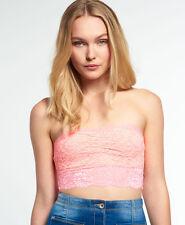Neues Damen Superdry Essentials Lace Bandeau-Top Super Pop Pink
