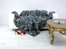 DE LUXE VRAI RENARD Throw Blanket Bleu Royal teints couleur 200 cm x 160 cm, i053
