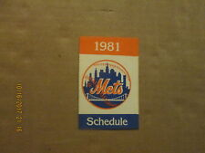 MLB New York Mets Vintage Circa 1981 Logo Baseball Pocket Schedule