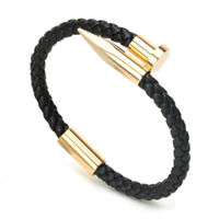 Men 6MM Weave Genuine Leather Nail Bracelet Charm Love Cuff Bangles Jewelry
