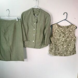 Vintage Womens Green Regular Three Pieces Jacket And Skirt Suit Set Size 20