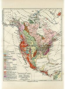c1900 NORTH AMERICA GEOLOGICAL MAP USA CANADA MEXICO GREENLAND Antique Map