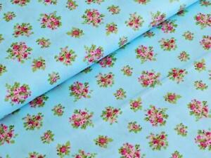Beschichtete Baumwolle Blume Marit Babyblau Stoff Meterware