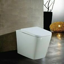 Back To Wall Square Bathroom BTW Toilet WC White Soft Close Seat Pan Concealed