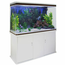 Fish tank aquarium complete set up tropical marine 4ft 300 litres blanc armoire