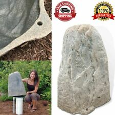 Plastic Fake Rock Cover Gray Concealing Lawn 15 In. L X 14 In. W X 23 In. H New