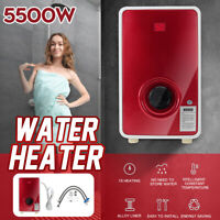5500W Electric Hot Water Heater Instant Tankless Heating Shower System Caravan