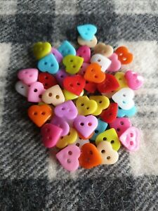 50 bulk 10mm small mixed heart plastic sewing craft buttons 2 hole