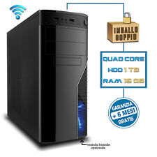 PC DESKTOP COMPUTER ASSEMBLATO Intel QUAD CORE 2.42GHZ RAM 16GB HD 1TB HDMI WIFI