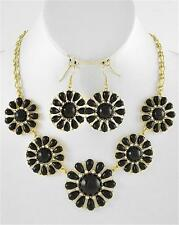 Black flower crystal rhinestone gold earring necklace set wedding bridal jewelry