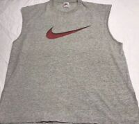 VTG Nike Gray TANK TOP T Shirt with Red Nike BIG Swoosh Size Mens XL USA Made