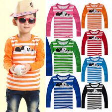 Boys Girls Kids Mickey Mouse T-shirt Tops Blouse Toddler Striped Cartoon Tee Top