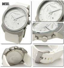 NEW DIESEL SILVER TONE ,WHITE SILICONE BAND CHRONOGRAPH WATCH DZ1450