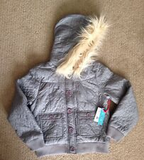 Paul Frank Gray Girl's Jacket w/ Faux Fur Hood, Size 8 NEW