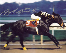 Jockey Angel Cordero autographed 8x10  photo riding Seattle Slew to victory