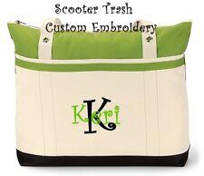 PERSONALIZED Tote bag book shopping GREEN black monogram Nurse Teacher NEW