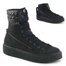 Demonia SNEEKER-270 Men's Black Canvas Round Toe Lace-Up Front Converse Sneakers