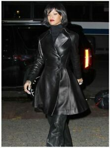 New Women RIHANNA Black Genuine Real Leather Trench Coat FAST SHIPING