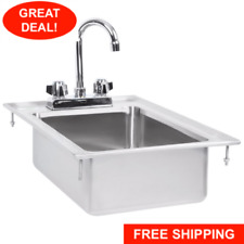 10 X 14 X 5 Stainless Steel Drop In Sink Commercial Hand Wash Bar With Faucet