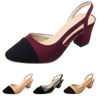 Womens shoes Pumps Ladies Two Tone Slingbacks Mid heel high heels Sandals Size
