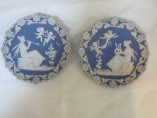 Antique Pair Wedgwood Jasperware Wall Plates - Unmarked