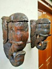 Elephant Bracket Corbel Pair Wooden Handmade Statue Wall Shelf Estate Home Decor