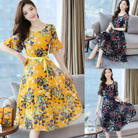 Fashion Women O-Neck Short Sleeve Long Dress Sashes Floral Print A-line Dress AU