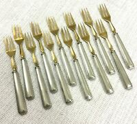 French Art Deco Cutlery Cake Forks Gold Silver Plated Geometric Boxed Set of 12