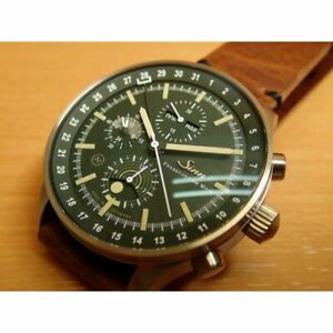 SINN 3006 Automatic Green Brown Stainless Cow Leather Round Analog 44mm Mens New