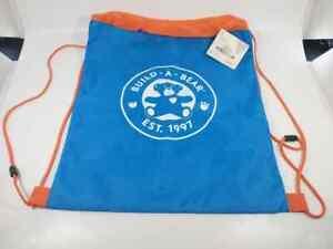 Build A Bear Blue and Orange Teddy Plush Backpack Holder Drawstring Bag