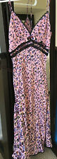 VINTAGE Betsey Johnson Pink 100% SILK LACE Floral Spaghetti Strap Dress Spring!