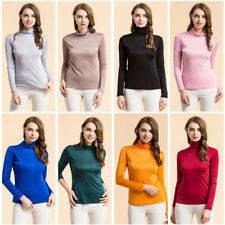 Womens 100% Mulberry Silk Knitted Turtle Neck T Shirt Undershirt Long Sleeve