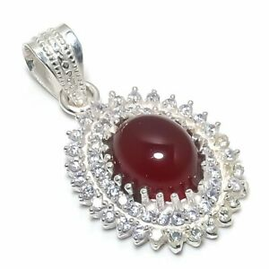 """Red Ruby, Cubic Zirconia Gemstone 925 Sterling Silver Jewelry Pendant 1.42"""""""