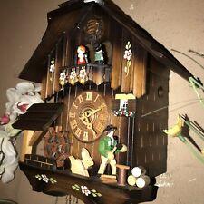 NICE GERMAN ANIMATED WOODSMAN & GOAT MUSICAL CUCKOO CLOCK WATERWHEEL / DANCERS