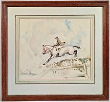 """Listed Artist Diana Thorne (1895-1963) Signed Watercolor 1936 """"Over Jump"""""""
