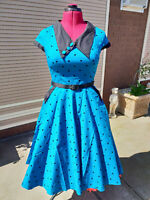 Hell Bunny Blue Black Polka Dot Pin up Rockabilly Vintage Swing Dress Size S
