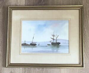 David Short - Watercolour of boats in an estuary.