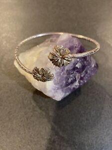 Signed AJI West Indian Sterling Silver Flower Cuff Bangle Bracelet
