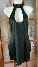 "Black Soft Real Leather Halterneck Top / Mini Dress Biker Rock Size 34"" Chest"