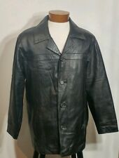Wilson Leather Jacket Ladies Black Button Front Leather Coat Small