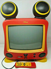 """Mickey Mouse CRT 13"""" Color TV Speaker Ears Disney DT1300-C w Remote & Feet WORKS"""