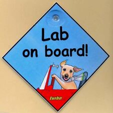 LABRADOR RETRIEVER SIGN LAB ON BOARD DOG IN CAR SIGN PAINTING BY SUZANNE LE GOOD