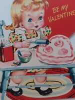 1950s GIRL Puts PINK Frosting on HEART CAKE Be My VALENTINE Vtg GREETING CARD